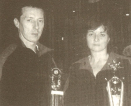 Loreto College Kenpo Karate instructors Alan Corrigan & Freda Roberts with their trophies from the 1997 AKKS European Championships
