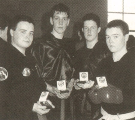 Loreto College Kenpo Karate School students (L-R) John Bradley, David Conolly, Darryl Murray & David Bradley with their medals from 1999 Best Of The Best