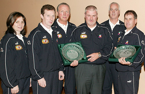 (L-R) Freda Roberts, Alan Corrigan, Maurice Mahon, Malcolm Donellan (O2), Dermot O'ReiIly and Cathal Tully (Beaumex)