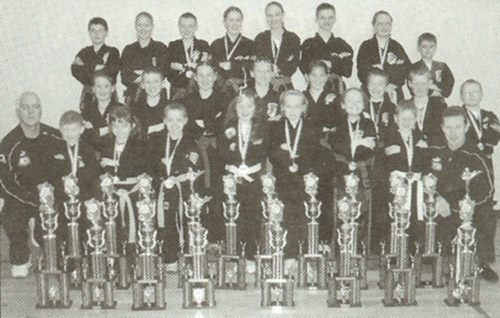 Junior students from the Loreto College Kenpo Karate School with awards at the IKKA's 2004 European International Karate Championships