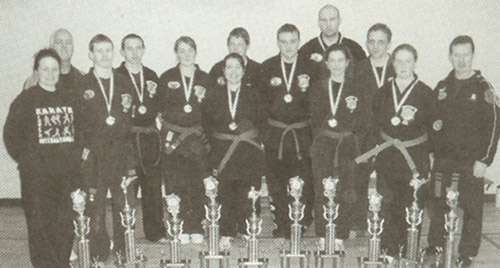 Senior students from the Loreto College Kenpo Karate School with awards at the IKKA's 2004 European International Karate Championships